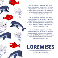 Wild sea animals poster design - background with cute dolphin, fishes and jellyfish