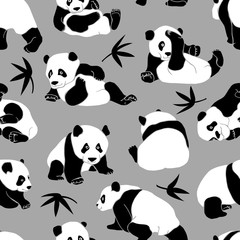 Seamless pattern with a asian bear (panda) and Bamboo leaves on a gray background. Vector illustration.