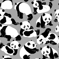 Seamless pattern with black and white asian bear (panda) on a gray background. Vector illustration.