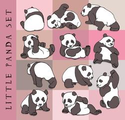 Set cartoon character asian bear (panda). Vector illustration.