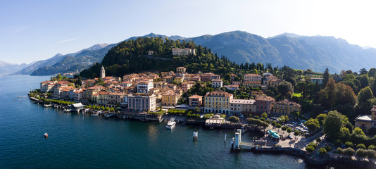 Panoramic view of Bellagio village on Como lake in Italy