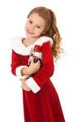 Christmas: Cute Girl With Nutcracker Doll