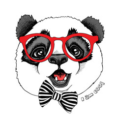 Panda child portrait in a red glasses with tie. Vector illustration.