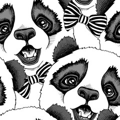 Seamless pattern with image of a Panda child in a tie. Vector illustration.