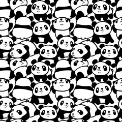 Seamless pattern with image of a too much pandas. Vector illustration.