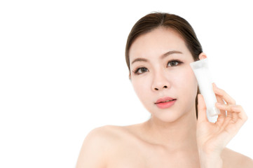 Asian beauty woman present skin product on white background