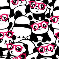 Seamless pattern with image of a too much pandas in a glasses. Vector illustration.