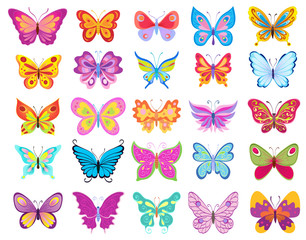 set of cartoon butterflies. vector