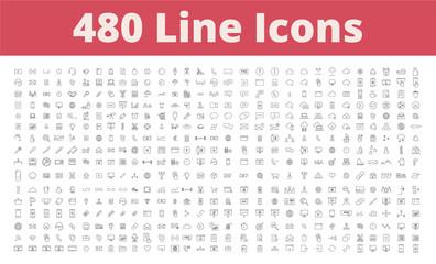 480 Line Icons Fototapete