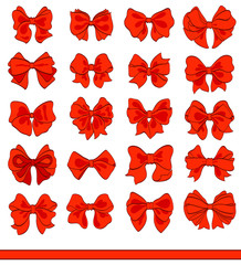 cartoon red bows set on white. vector decorative design elements