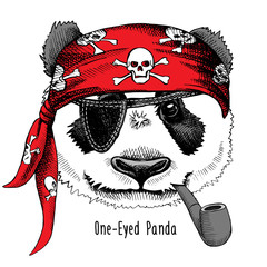 Panda portrait in a pirate's bandana with tobacco pipe. Vector illustration.