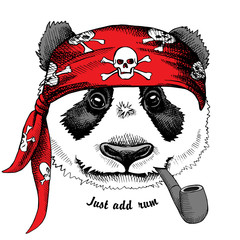 Panda portrait in a red pirate's bandana with tobacco pipe. Vector illustration.