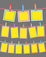 photo multicolored frames on rope with clothespins. vector design template