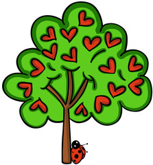 Love tree with ladybird