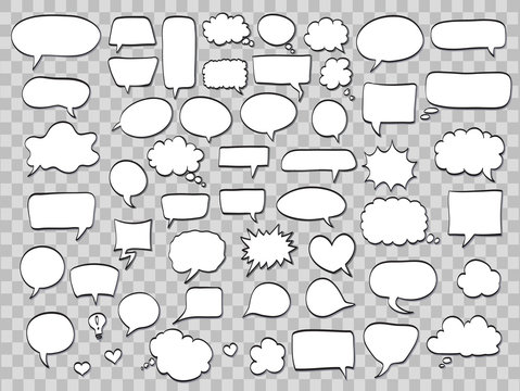 set of comic speech bubbles on transparent background. vector illustration