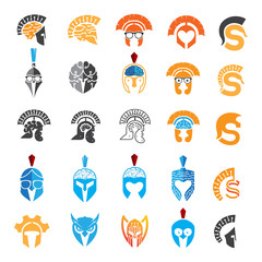 set of logo helmet spartan