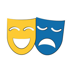 theater masks icon image vector illustration design