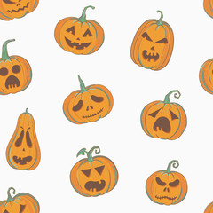 Halloween pattern with carved pumpkins