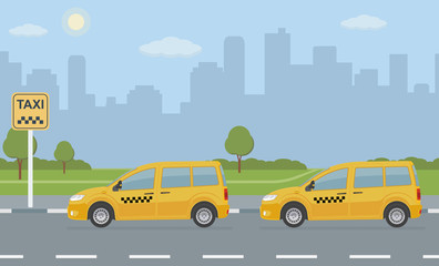Taxi car parking with two automobile on city background. Vector illustration.