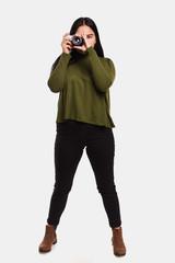 woman in a khaki blouse