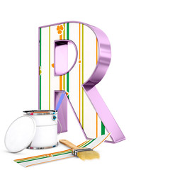 """R"" decorated letter with renovation tools, 3d rendering"