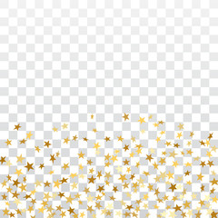 Gold stars falling confetti isolated on white transparent background. Golden explosion confetti on floor. Abstract decoration. Stars for Christmas festive party. Shiny glitter Vector illustration