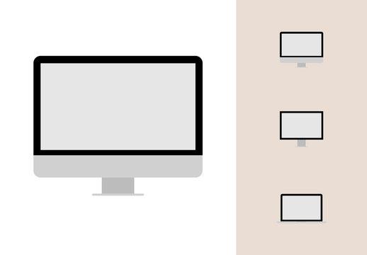 Flat Desktop and Laptop Vector Mockups