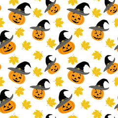 Seamless pattern with pumpkins in a black witch hat and autumn maple leaves.