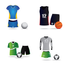 Set of sport uniforms on a white background, Vector illustration