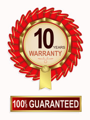 emblem of red color with the text of ten years warranty