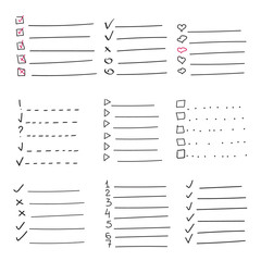 Collection of vector isolated outline hand drawn check to do list, bullet, check