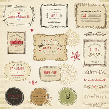 Retro hand drawn labels, frames, flowers and floral dividers.