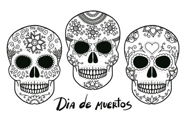 Hand drawn vector black and white outline day of the dead skulls, good for coloring