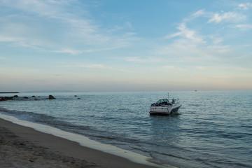 speedboat on the beach