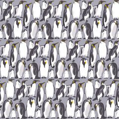 Seamless pattern with image of a many Emperor penguin on a gray background. Vector illustration.