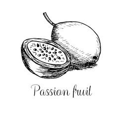 Hand drawn passion fruit