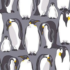 Seamless pattern with image of Emperor penguin on a gray background. Vector illustration.