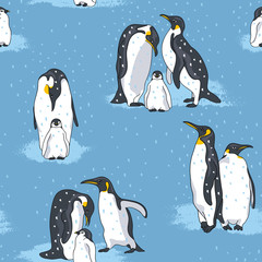 Seamless pattern with image of a penguins on a blue background. Vector illustration.