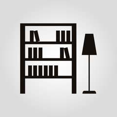 Bookshelf and floor lamp isolated flat vector icon