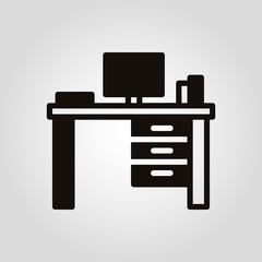 Worktable desk or writing table isolated flat vector icon