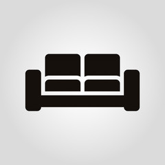 Isolated flat vector armchair, sofa or couch icon