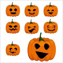 Pumpkins for Halloween. Vector. Emotion. Jack-o'-lantern
