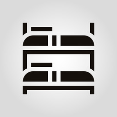 Bunk bed isolated vector flat icon