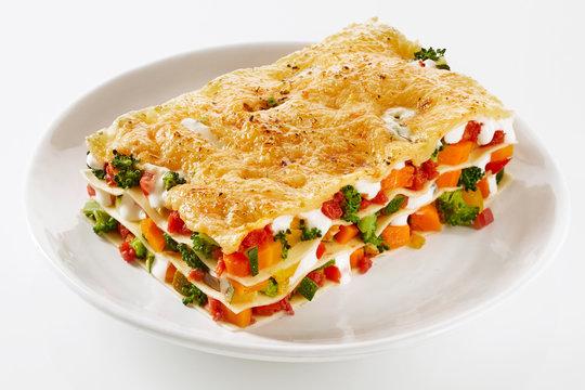 Healthy portion of fresh vegetable lasagne