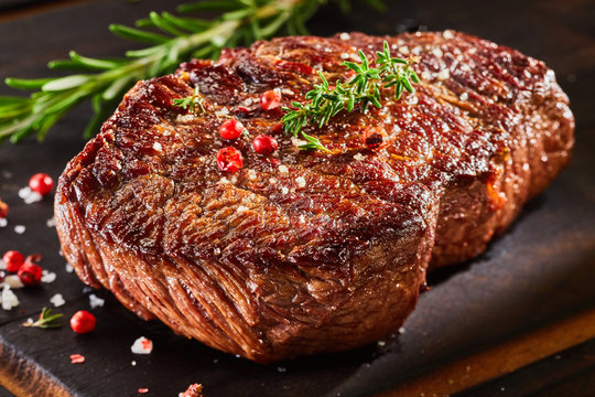 Piece of roast beef with spices