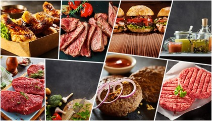 Creative collage of a variety of barbecue foods
