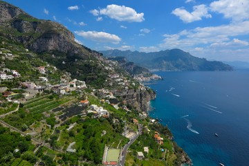 Amalfi Coast Italy view of sea and terraced hills