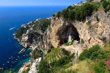 Amalfi Coast, Italy clifftop view looking down at Conca dei Marini village by the sea