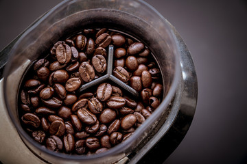 Coffee bean grain in a grind machine on black background