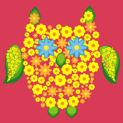 Owl, painted with flowers, decorative element